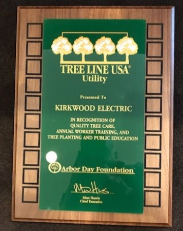 Kirkwood Electric Receives 2019 Tree Line USA Recognition