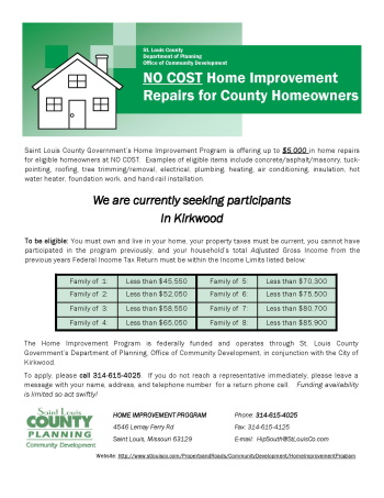 No-Cost Home Improvement Repairs for County Homeowners