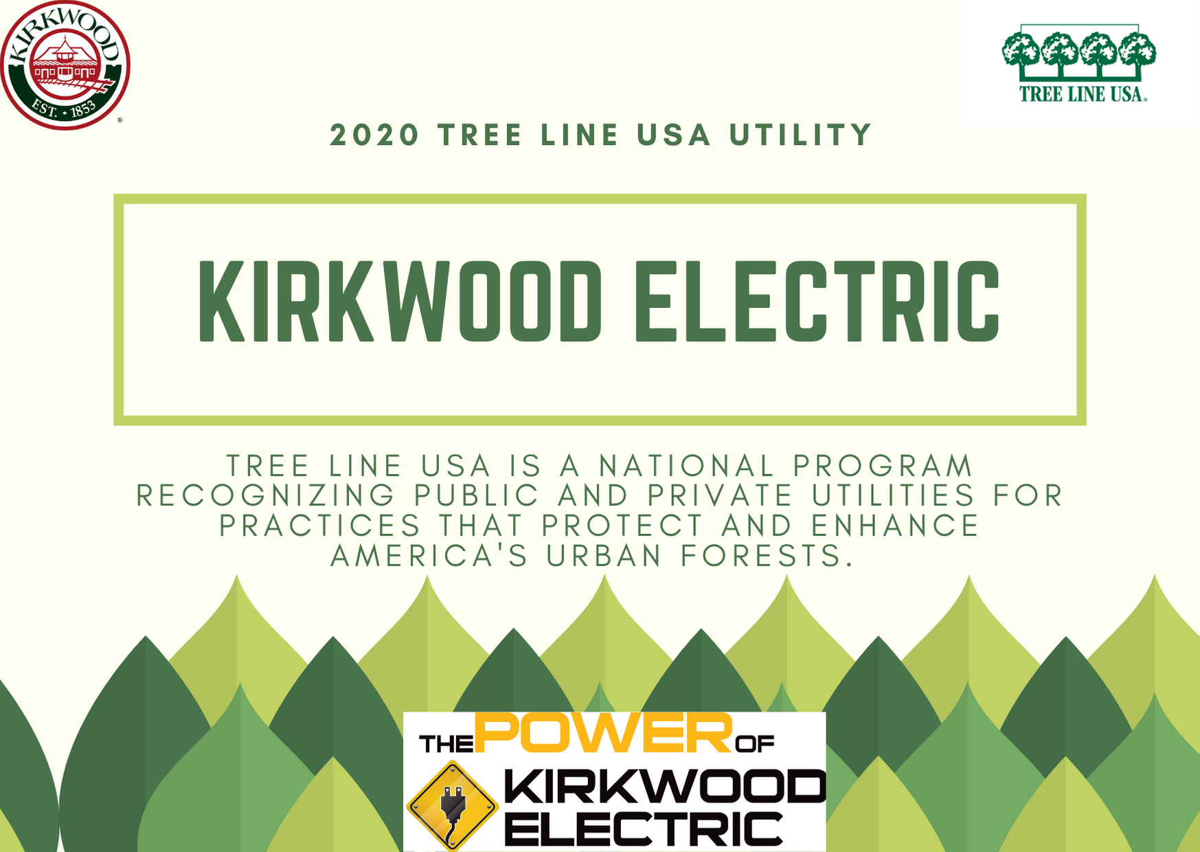 Kirkwood Electric Named 2020 Tree Line USA